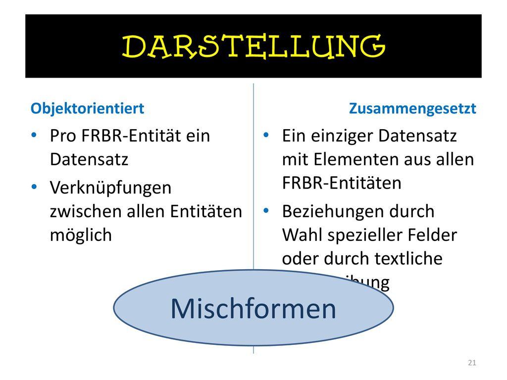 Mischformen Pro FRBR-Entität ein Datensatz