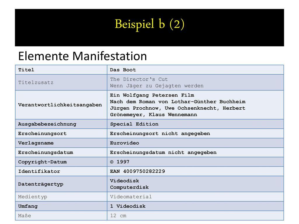 Beispiel b (2) Elemente Manifestation Titel Das Boot