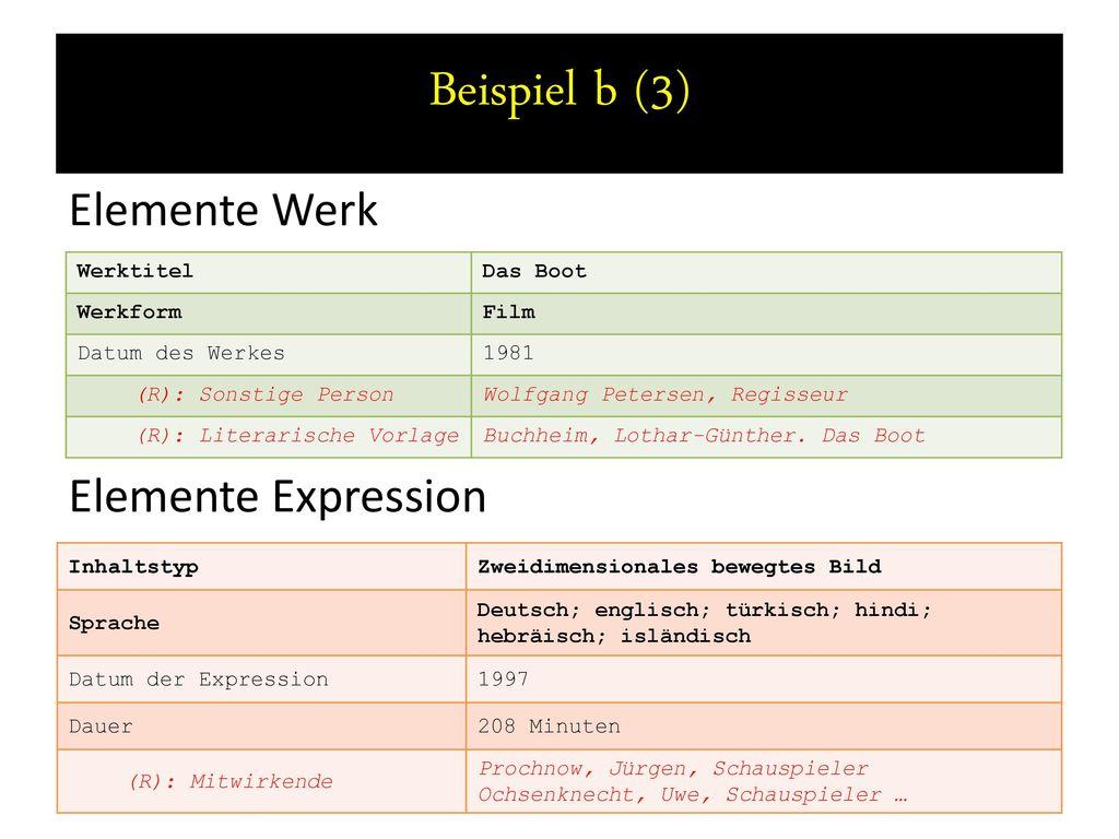 Beispiel b (3) Elemente Werk Elemente Expression Werktitel Das Boot