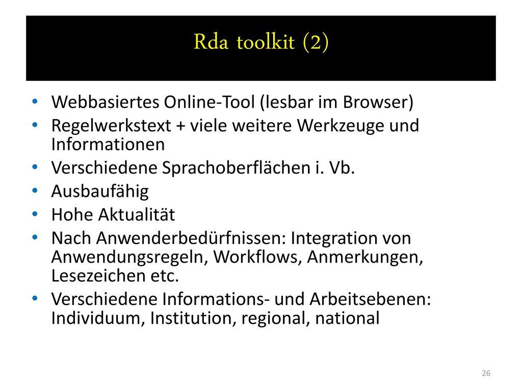 Rda toolkit (2) Webbasiertes Online-Tool (lesbar im Browser)