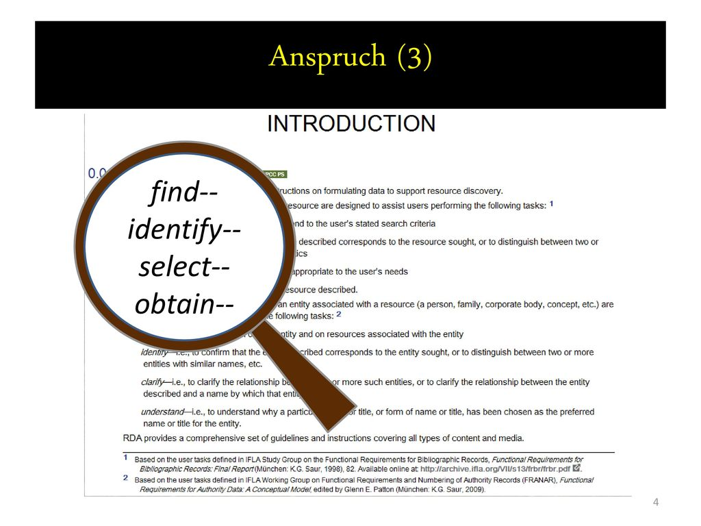 Anspruch (3) find-- identify-- select-- obtain--