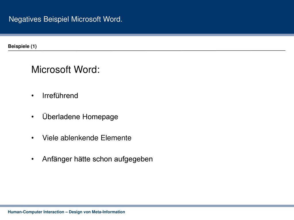 Negatives Beispiel Microsoft Word.