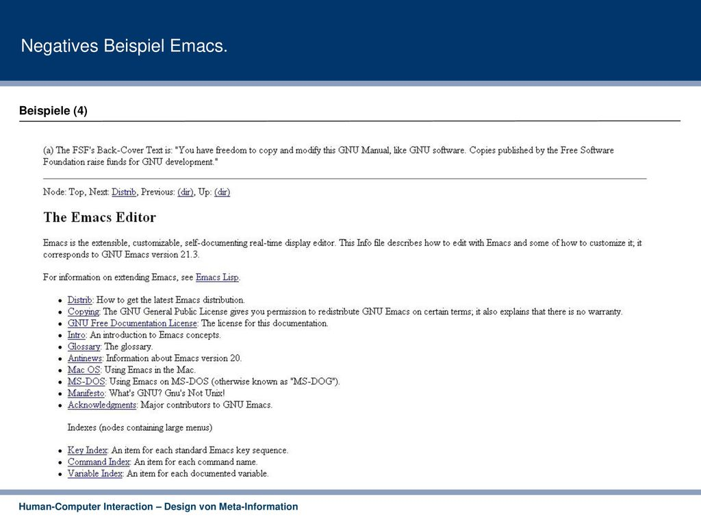 Negatives Beispiel Emacs.