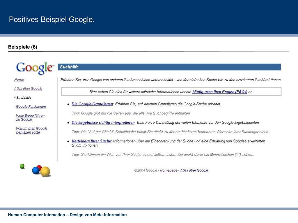 Positives Beispiel Google.