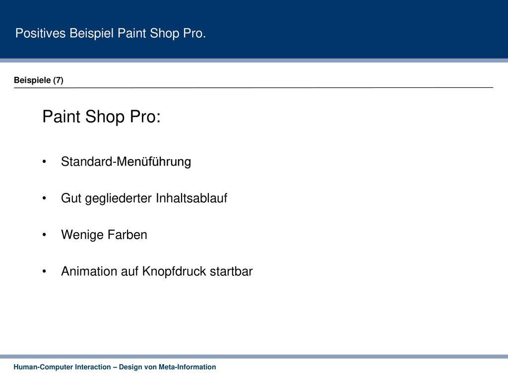 Paint Shop Pro: Positives Beispiel Paint Shop Pro.