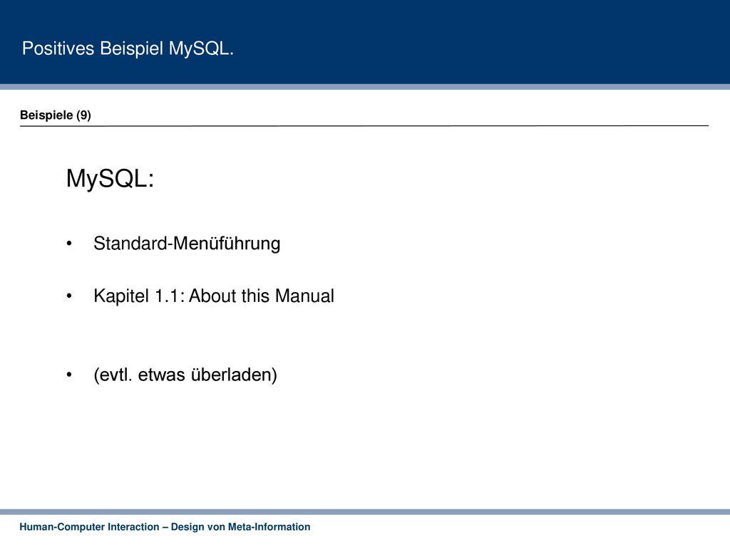 Positives Beispiel MySQL.