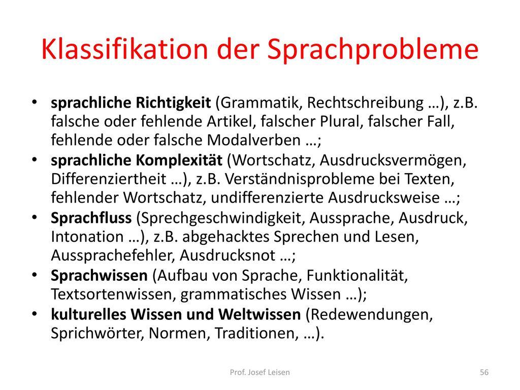 Klassifikation der Sprachprobleme