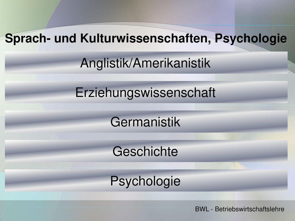 Sprach- und Kulturwissenschaften, Psychologie