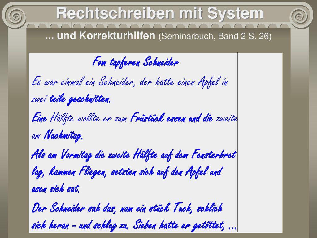 Rechtschreiben mit System Fom tapferen Schneider