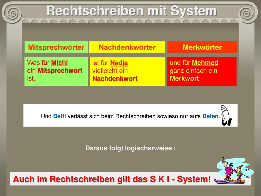 Rechtschreiben mit System Daraus folgt logischerweise :