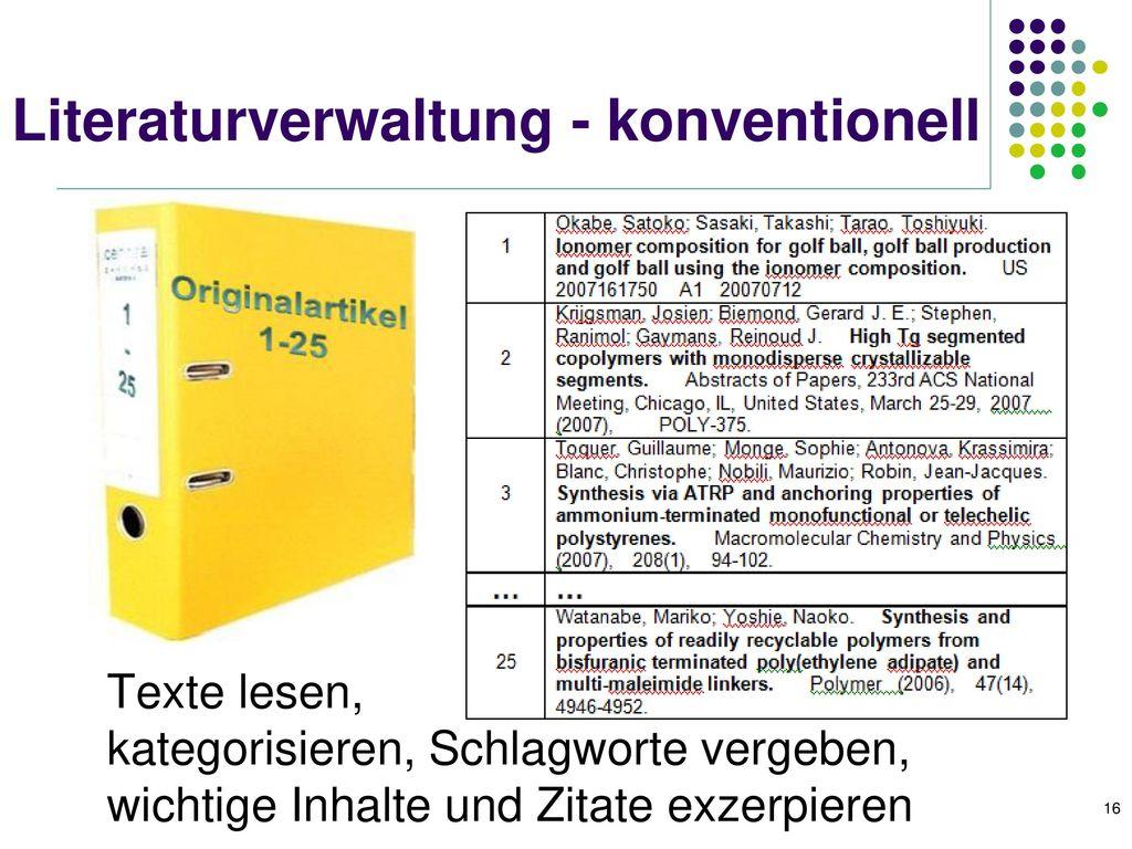 Literaturverwaltung - konventionell