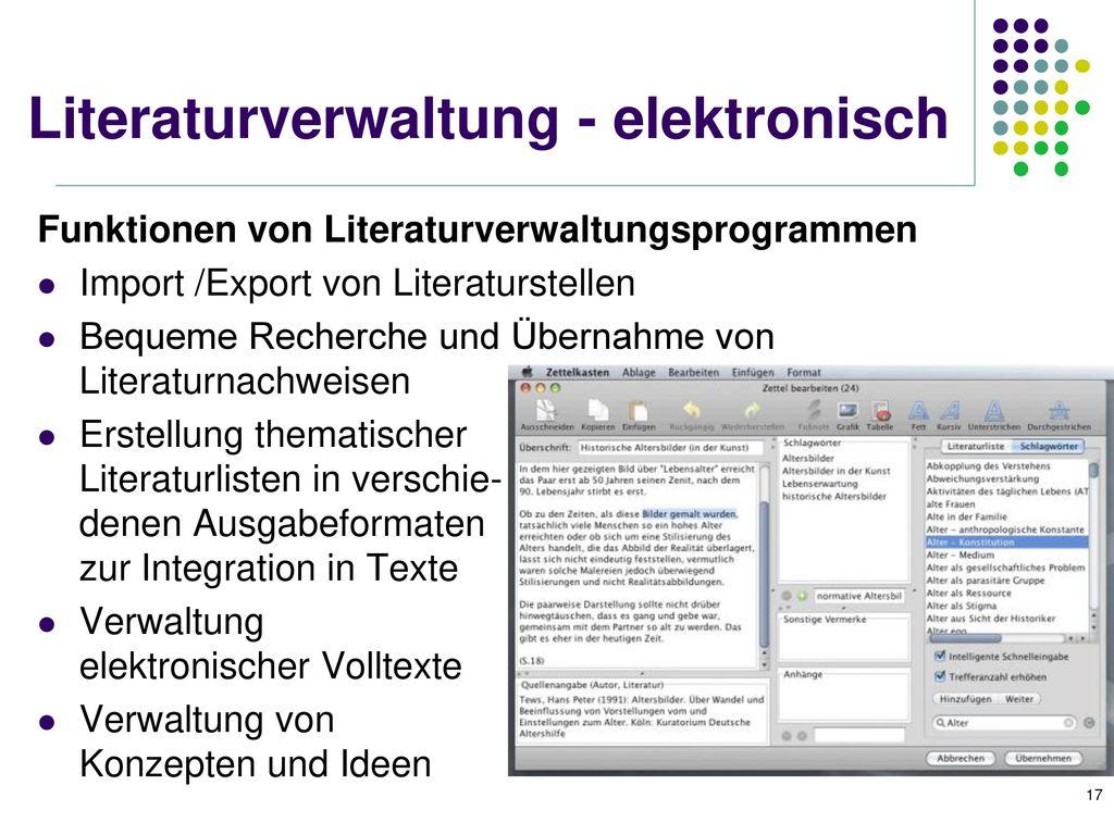 Literaturverwaltung - elektronisch