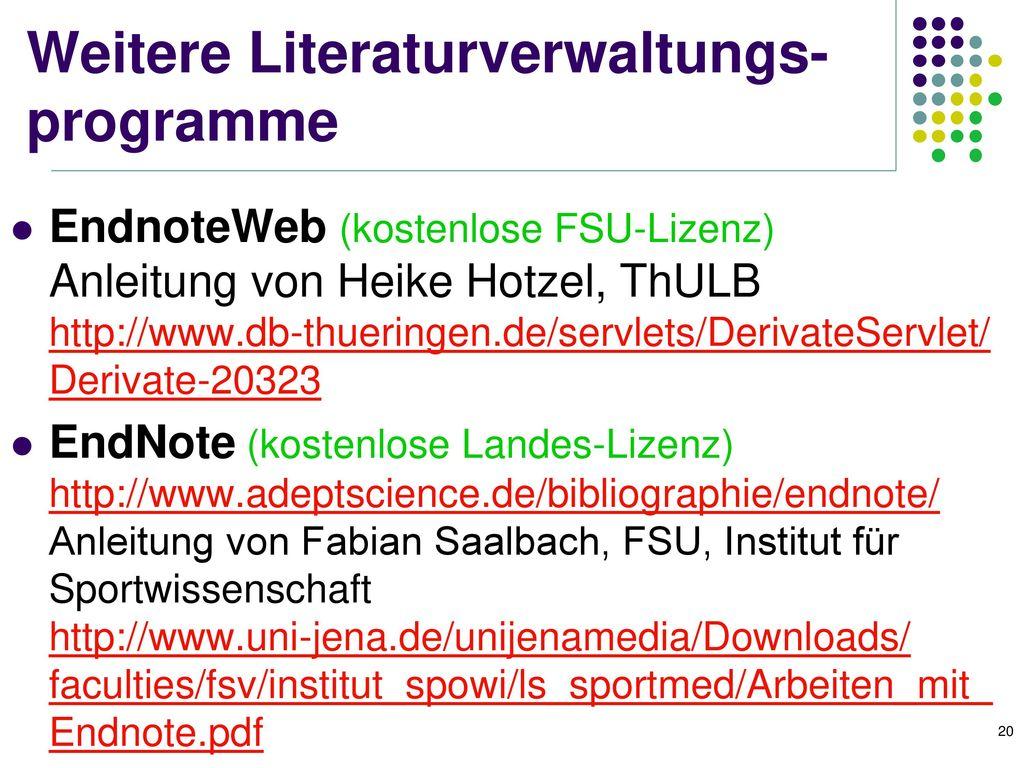 Weitere Literaturverwaltungs-programme
