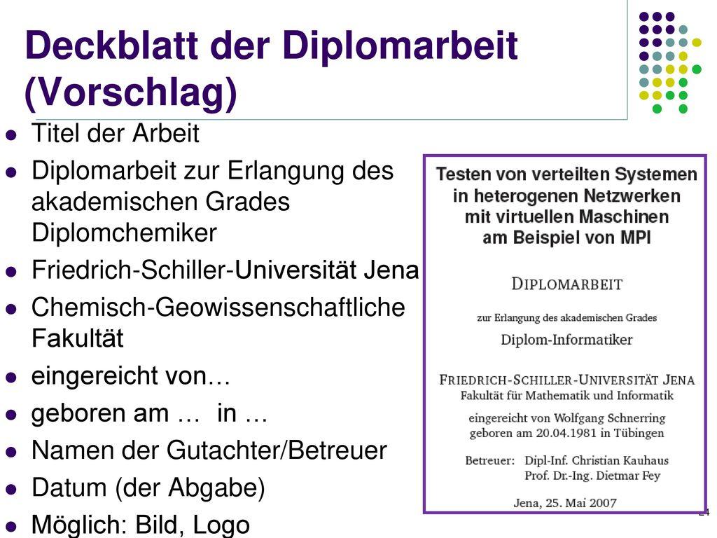 Deckblatt der Diplomarbeit (Vorschlag)
