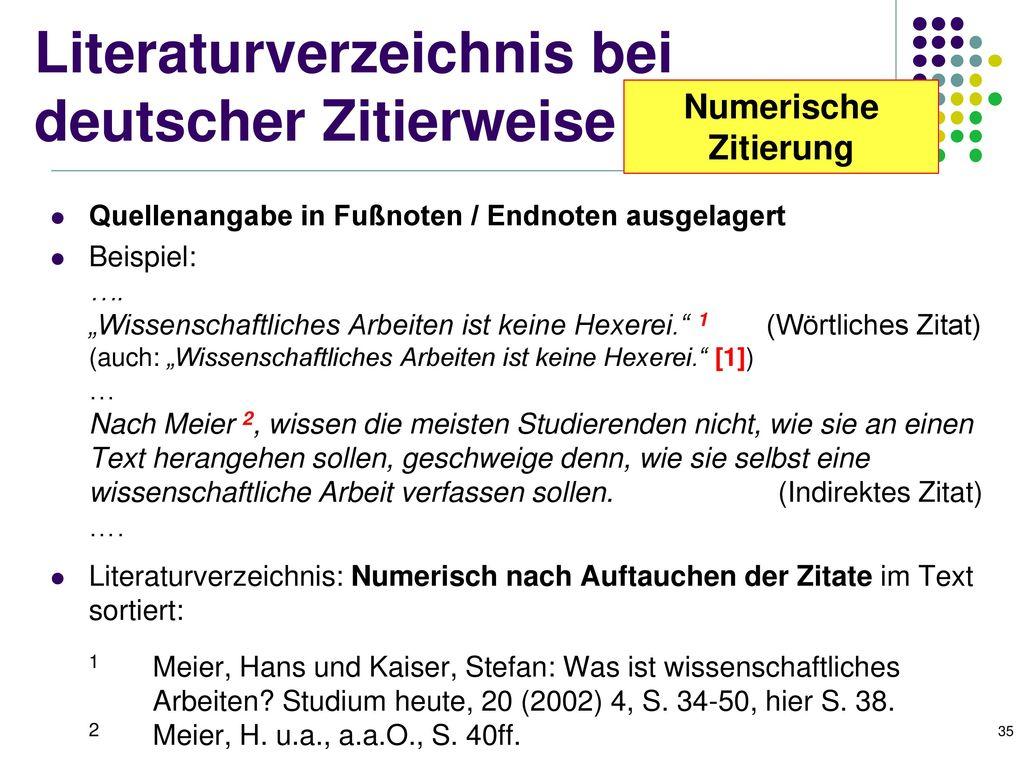Literaturverzeichnis bei deutscher Zitierweise