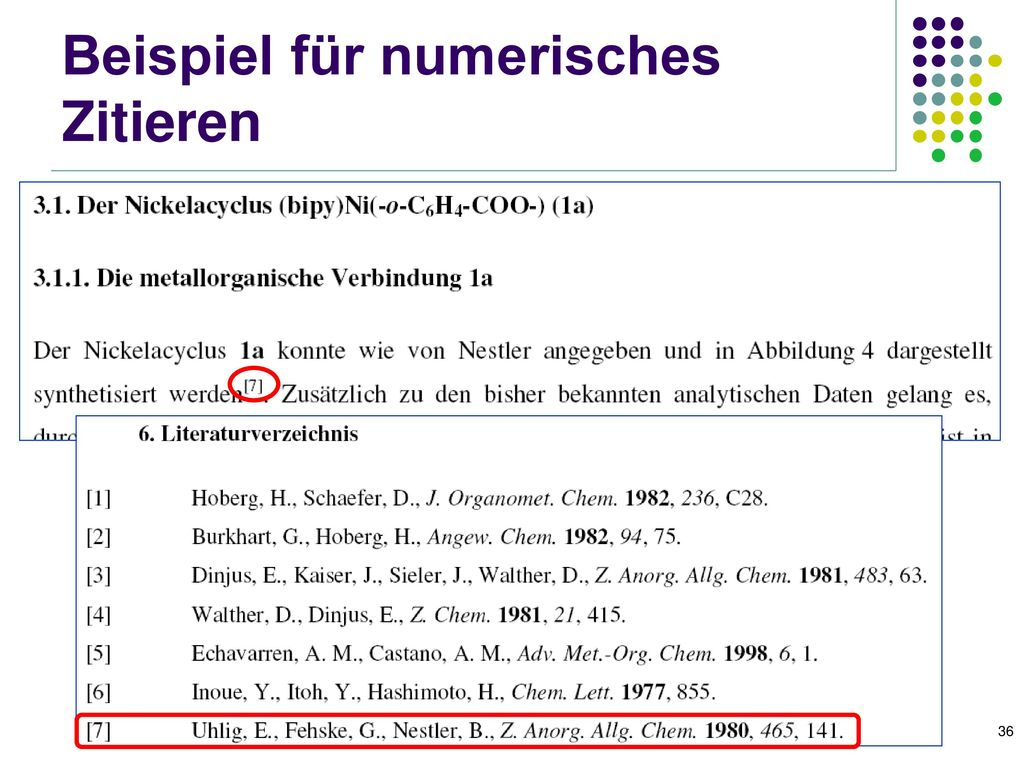 Beispiel für numerisches Zitieren