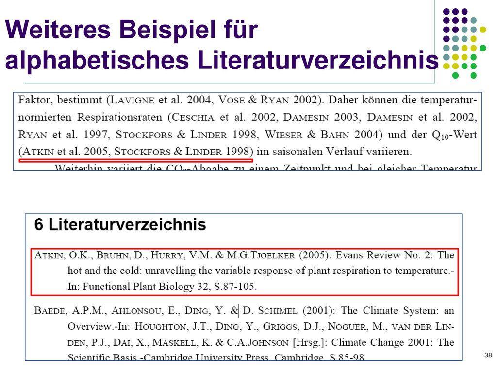 Weiteres Beispiel für alphabetisches Literaturverzeichnis