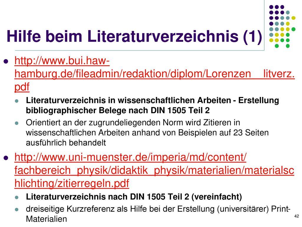 Hilfe beim Literaturverzeichnis (1)