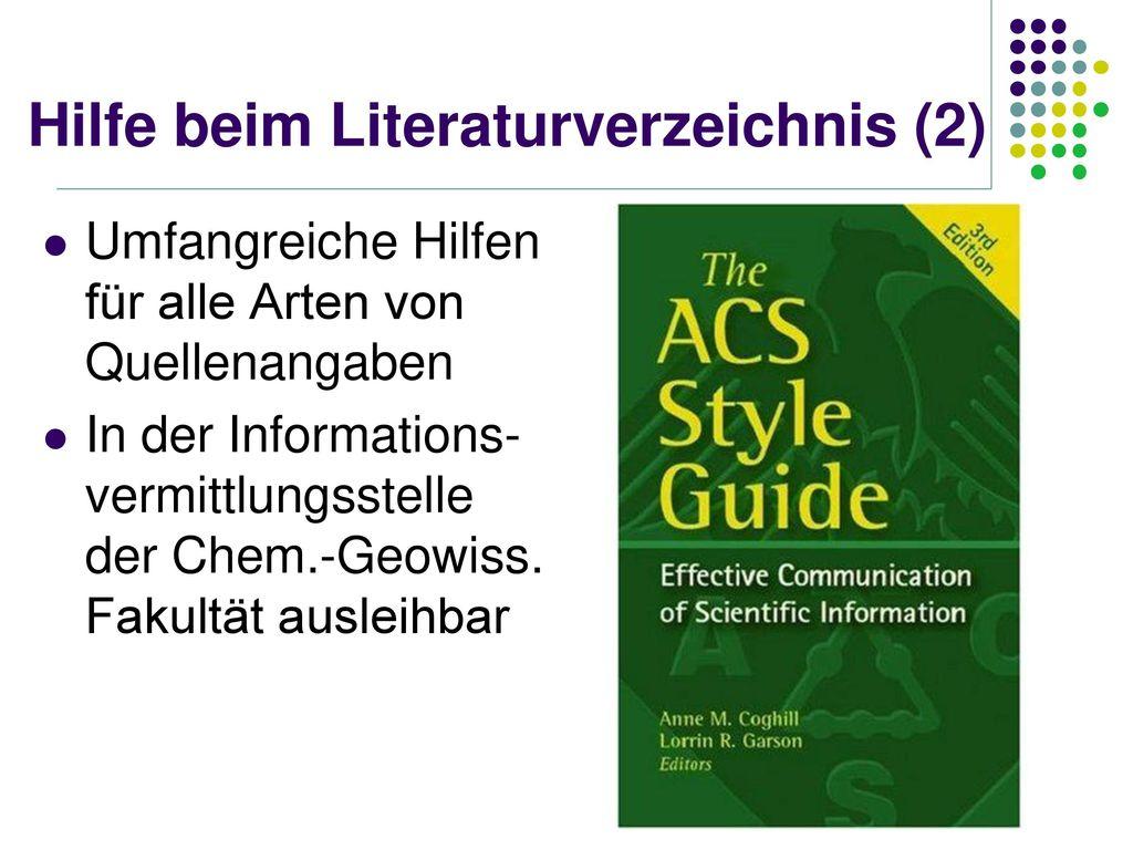 Hilfe beim Literaturverzeichnis (2)