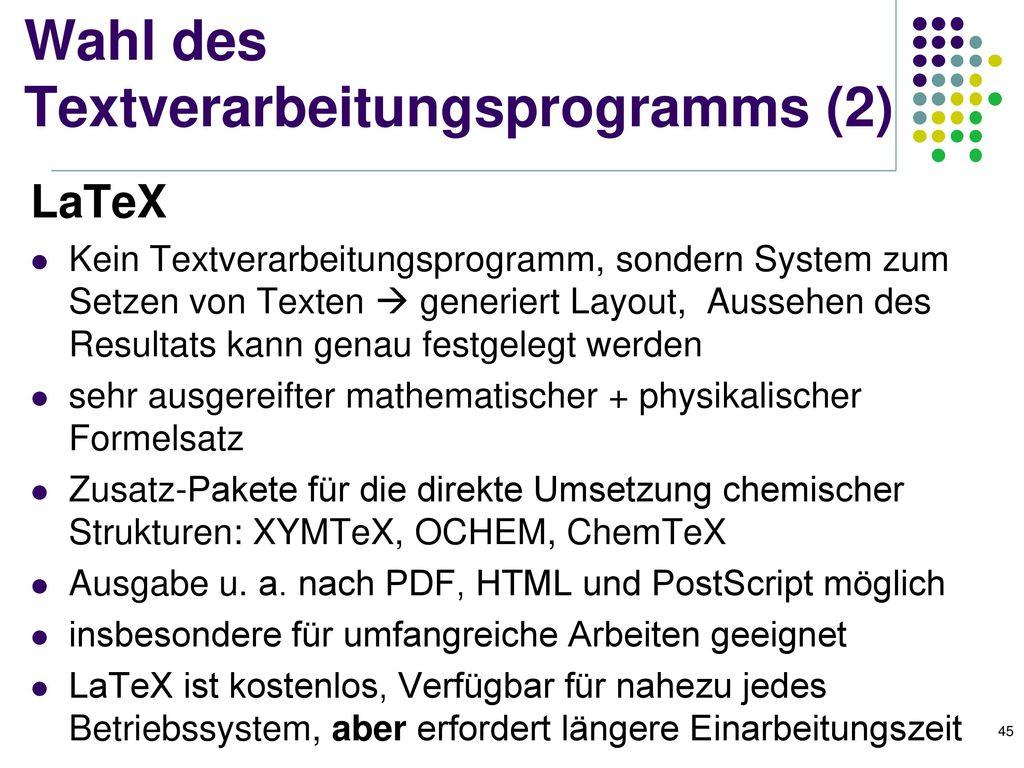 Wahl des Textverarbeitungsprogramms (2)