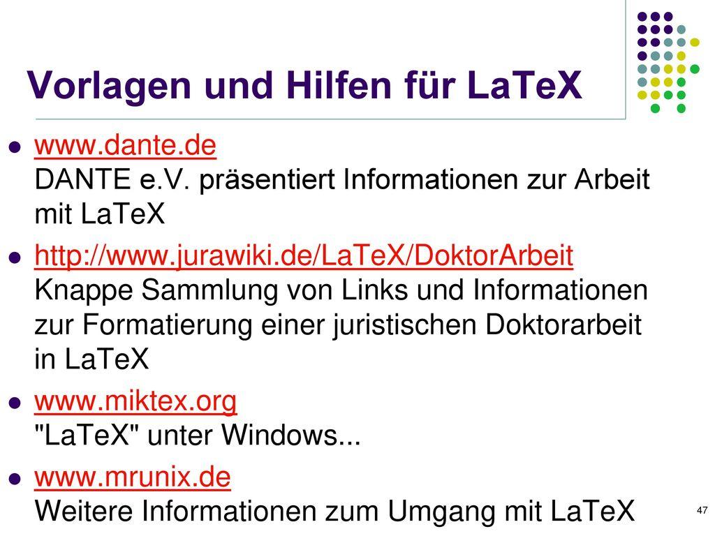 Vorlagen und Hilfen für LaTeX