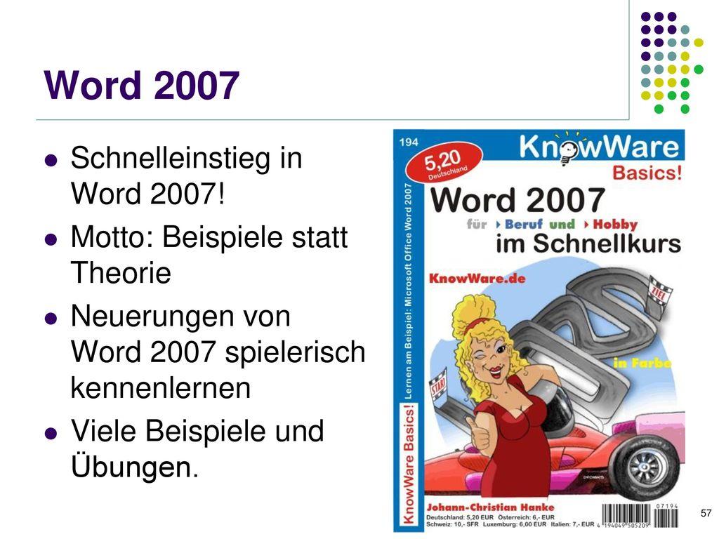 Word für Studenten Problemlos und schnell Seminar- und andere Arbeiten erstellen. kurze Wiederholung der Word-Grundlagen.