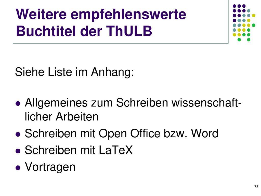 Bücher in der ThULB (2) Diplom- und Doktorarbeit: Anleitungen für den naturwissenschaftlich-technischen Nachwuchs.