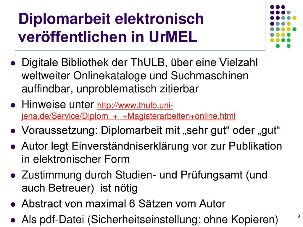 Diplomarbeit elektronisch veröffentlichen in UrMEL