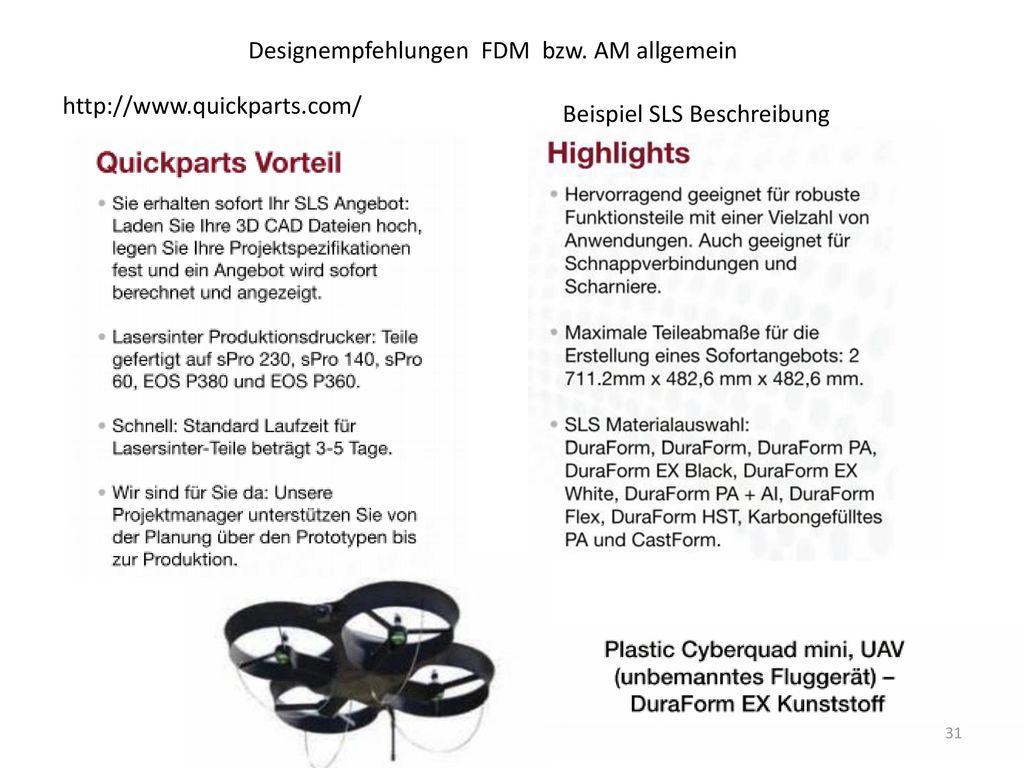 Designempfehlungen FDM bzw. AM allgemein