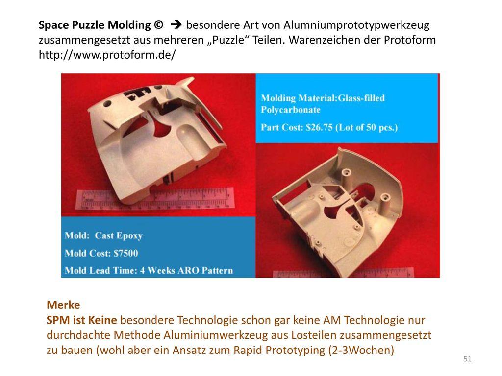 """Space Puzzle Molding ©  besondere Art von Alumniumprototypwerkzeug zusammengesetzt aus mehreren """"Puzzle Teilen. Warenzeichen der Protoform http://www.protoform.de/"""
