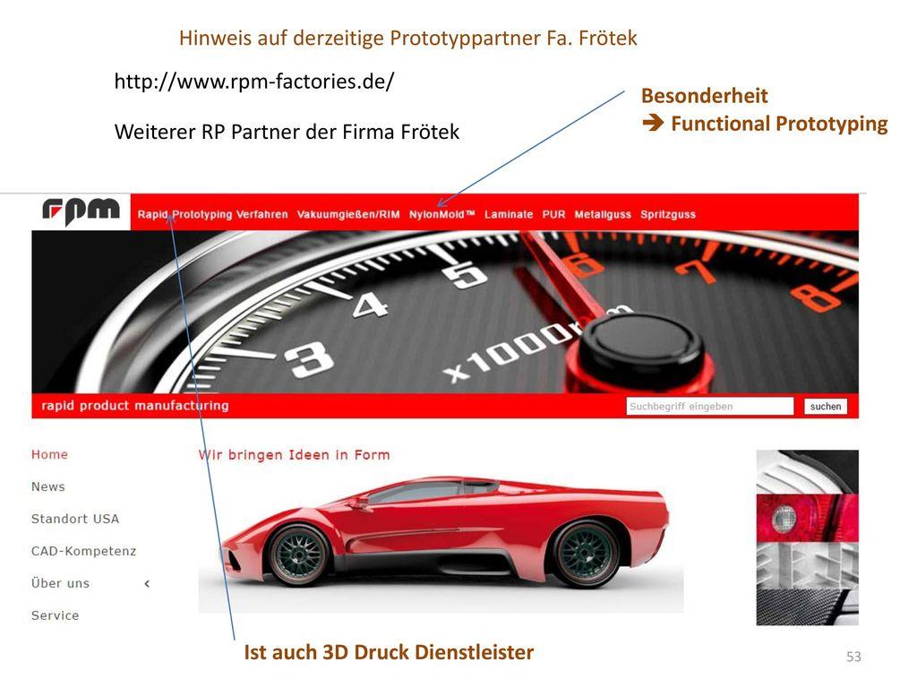 Hinweis auf derzeitige Prototyppartner Fa. Frötek