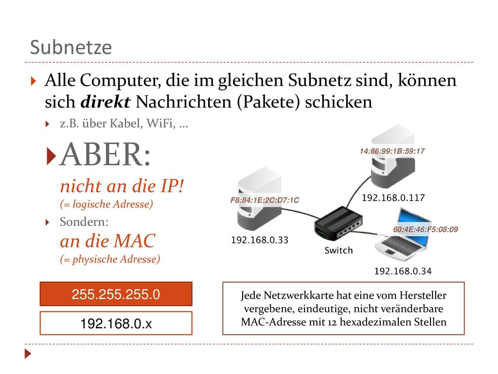 ABER: nicht an die IP! (= logische Adresse)