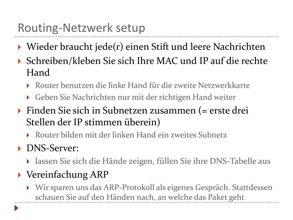 Routing-Netzwerk setup