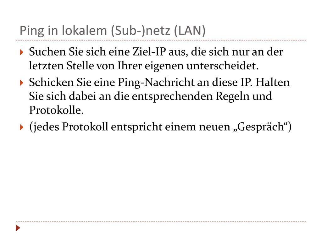 Ping in lokalem (Sub-)netz (LAN)