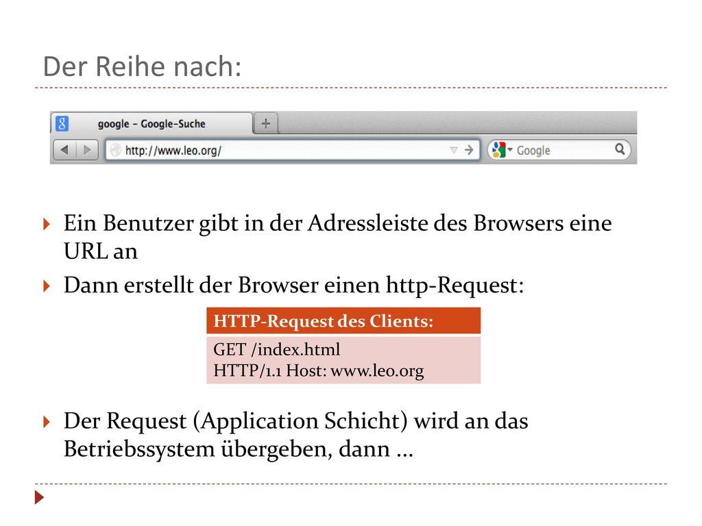 Der Reihe nach: Ein Benutzer gibt in der Adressleiste des Browsers eine URL an. Dann erstellt der Browser einen http-Request: