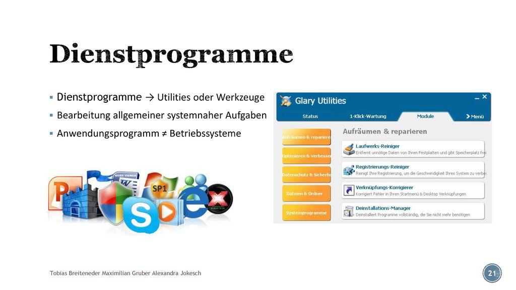 Dienstprogramme Dienstprogramme → Utilities oder Werkzeuge