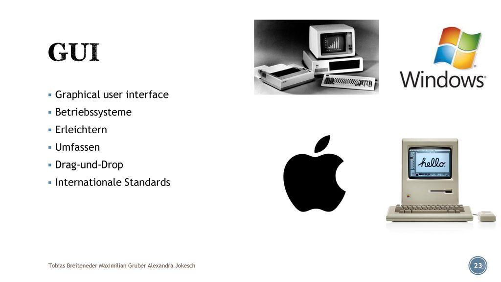 GUI Graphical user interface Betriebssysteme Erleichtern Umfassen