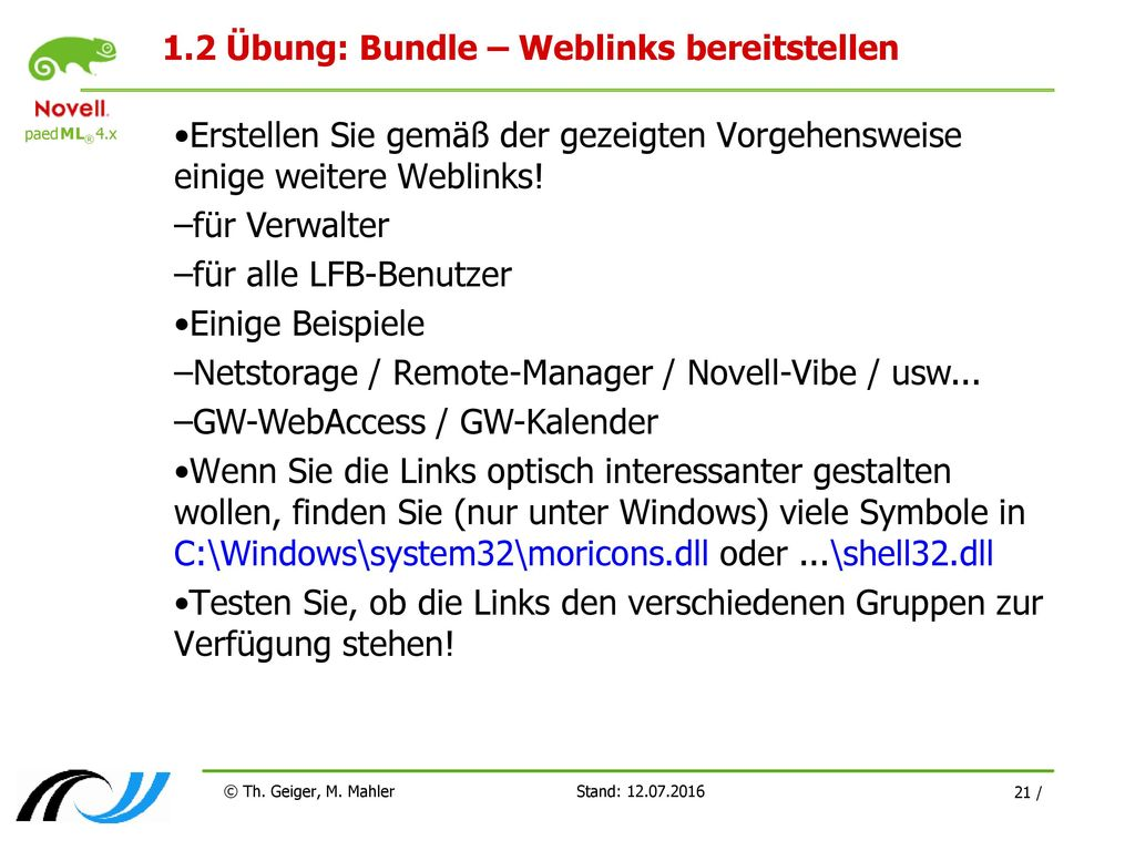1.2 Übung: Bundle – Weblinks bereitstellen