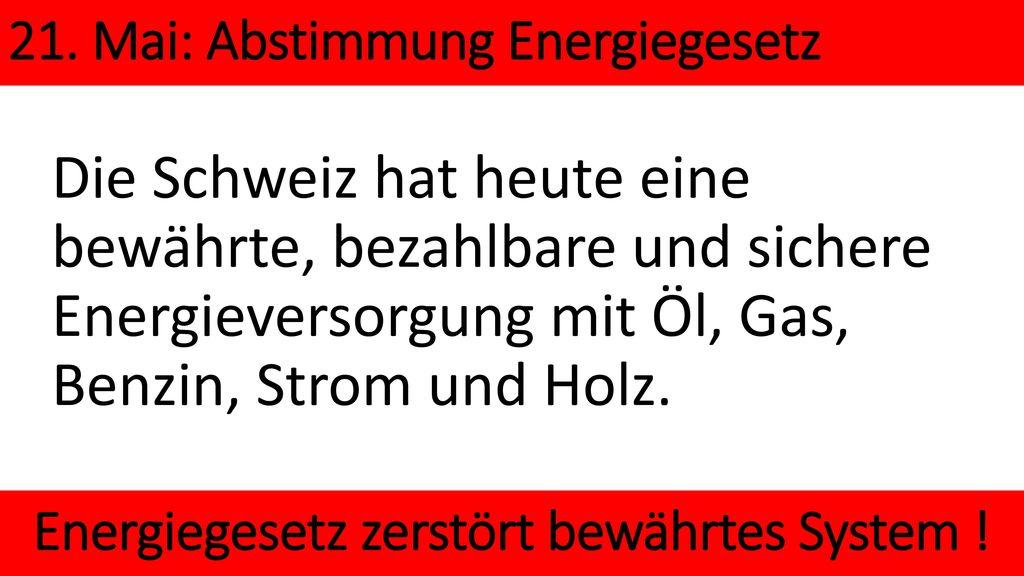 Energiegesetz zerstört bewährtes System !