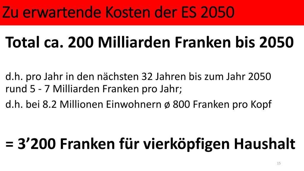 Zu erwartende Kosten der ES 2050