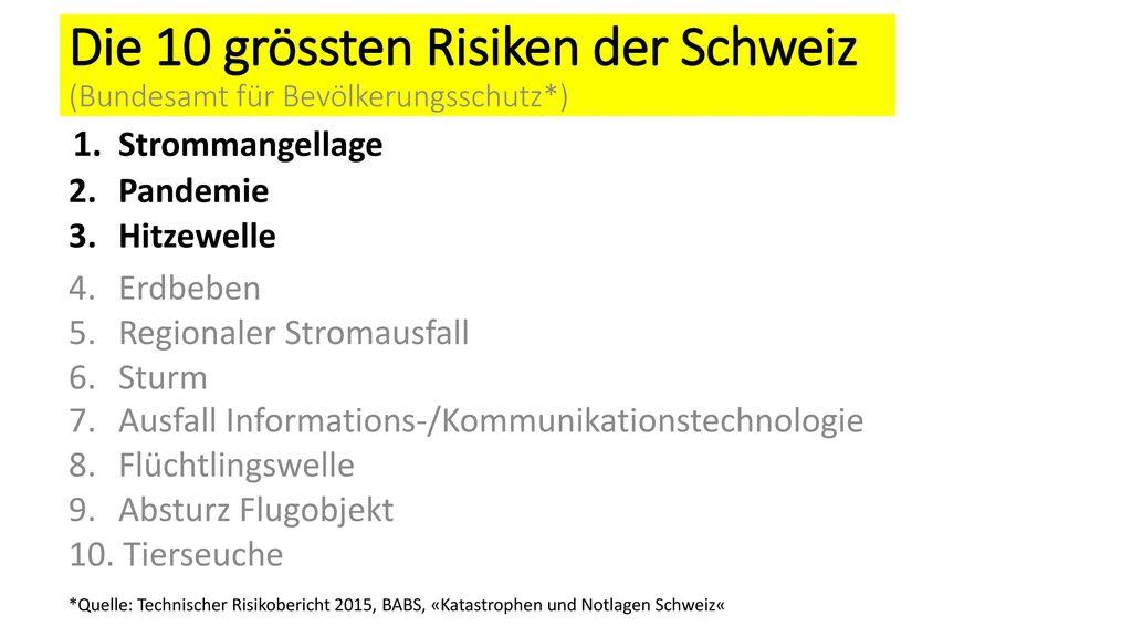 Die 10 grössten Risiken der Schweiz