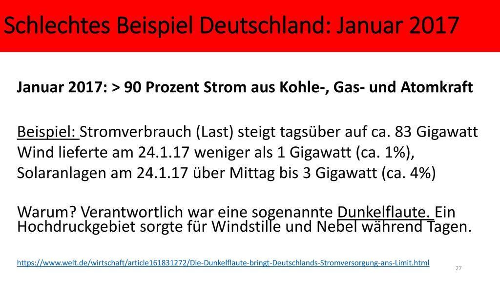 Schlechtes Beispiel Deutschland: Januar 2017