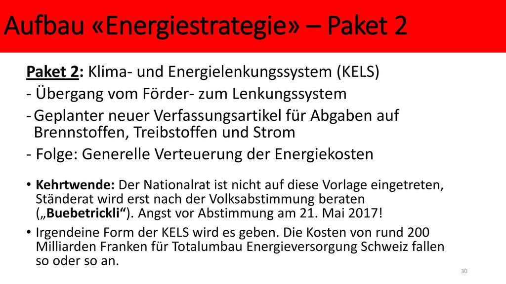 Aufbau «Energiestrategie» – Paket 2