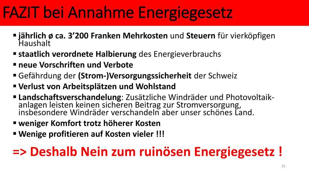 FAZIT bei Annahme Energiegesetz