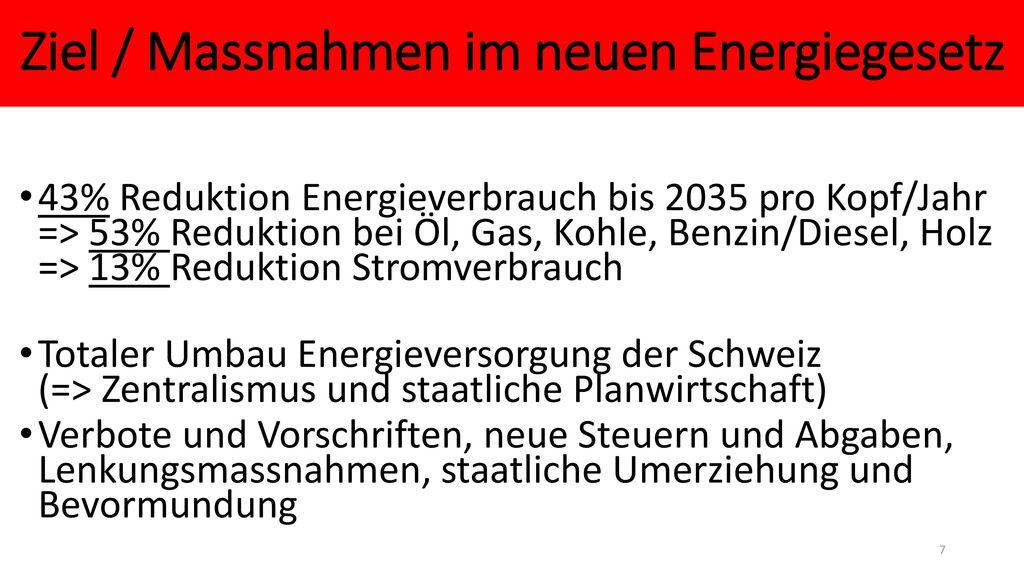 Ziel / Massnahmen im neuen Energiegesetz
