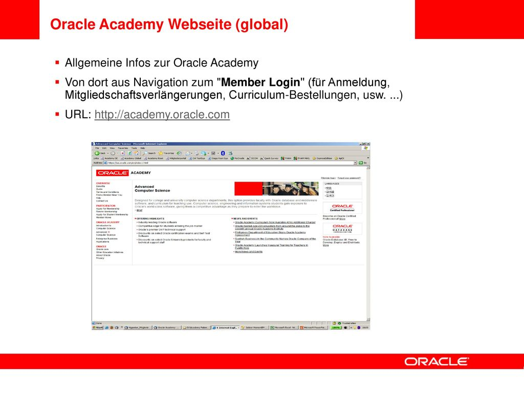 Oracle Academy Webseite (global)