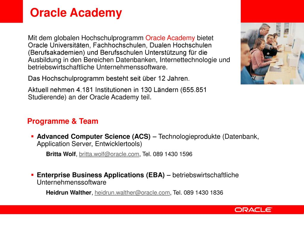 Oracle Academy Programme & Team