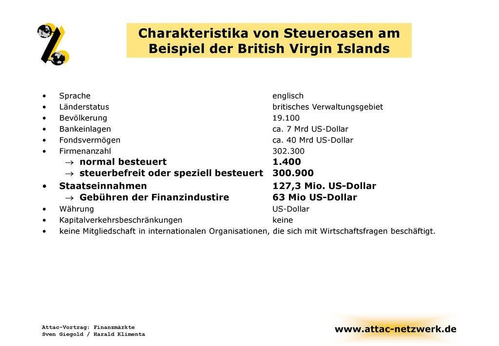 Charakteristika von Steueroasen am Beispiel der British Virgin Islands