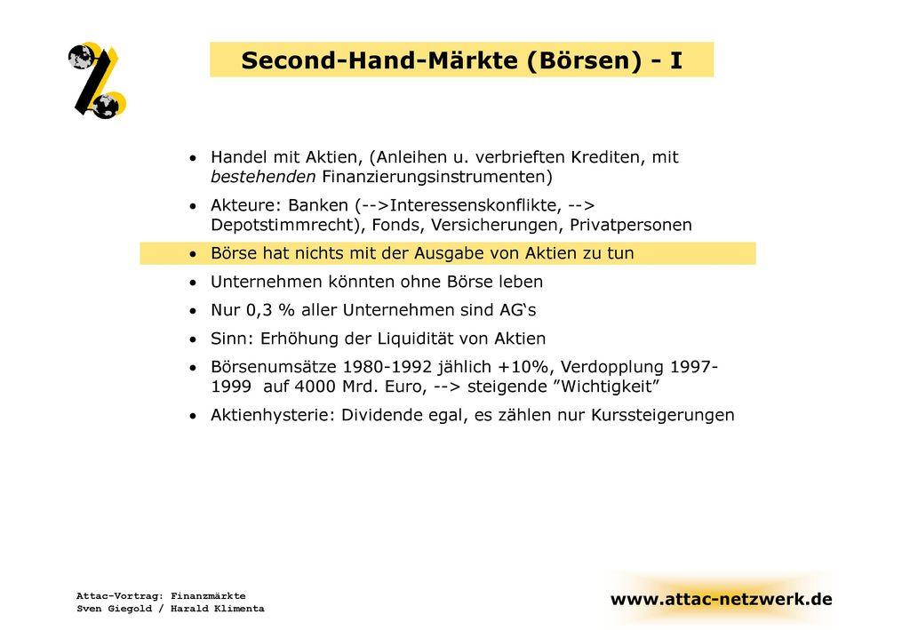 Second-Hand-Märkte (Börsen) - I