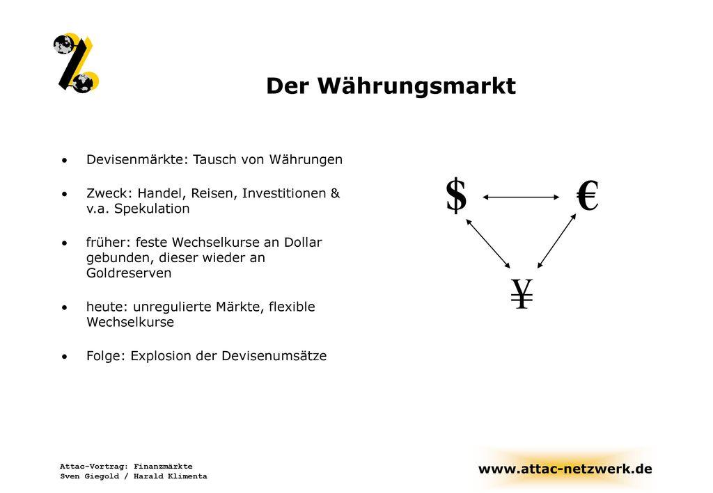 $ € ¥ Der Währungsmarkt Devisenmärkte: Tausch von Währungen